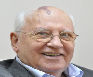 Mikhail Gorbachev bald former leader of soviet union