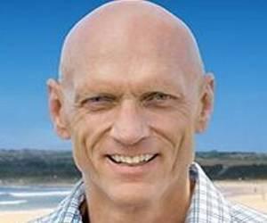 Peter Garrett bald lead singer of Australian band midnight oil