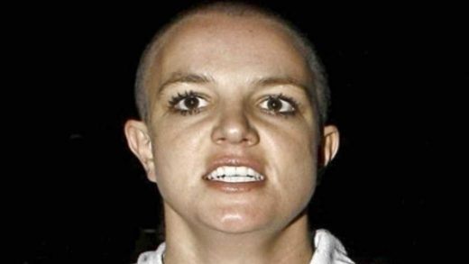 Britney Spears with shaved head appears angry