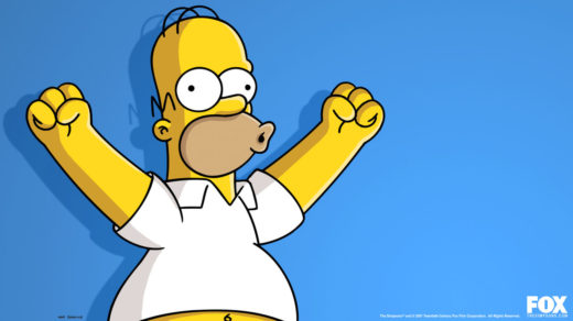 Homer Simpson holding both arms up shouting woo hoo
