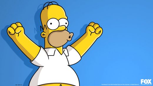 bald cartoon character Homer Simpson holding both arms up shouting woo hoo
