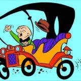 Mr Magoo bald cartoon character driving his car fist in the air
