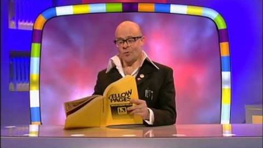 Harry Hill funny British TV Host reading the yellow pages