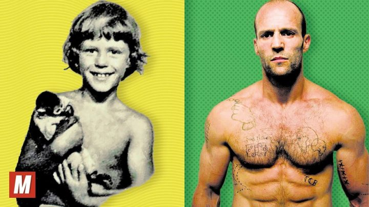Jason Statham comparison pic left side shows him as a boy right side shows him present day both shirtless