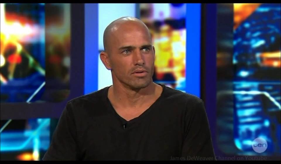 Kelly Slater Surfing Champion that suffers hair loss
