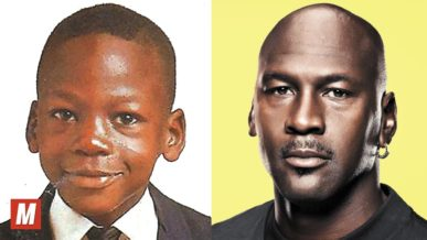Michael Jordan comparison photo as a young boy and present day