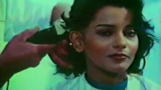 Persis Khambatta getting hair shaved using clippers for movie role