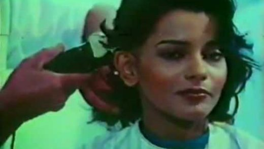 Persis Khambatta Indian Actress Model getting hair shaved using clippers for movie role