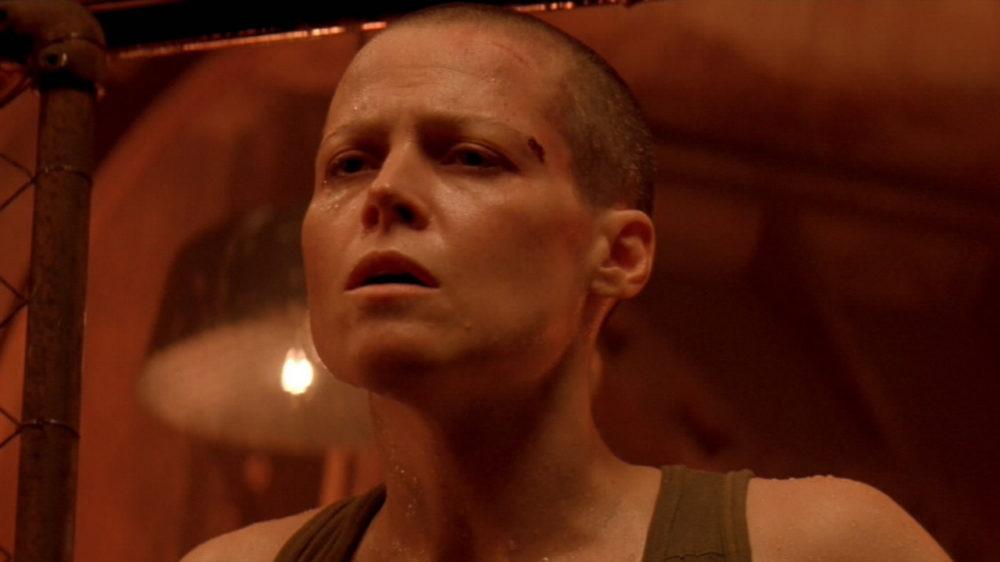 Sigourney Weaver shaved head scene from Alien 3